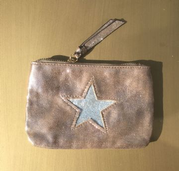Faux Suede Star Purse/Make Up Bag - Stone